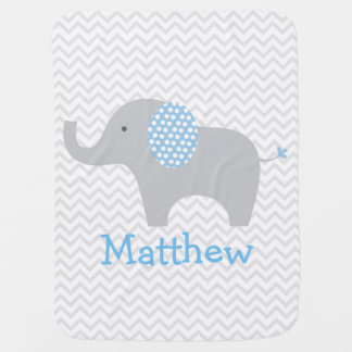 Blue Elephant Chevron Personalized Baby Blanket