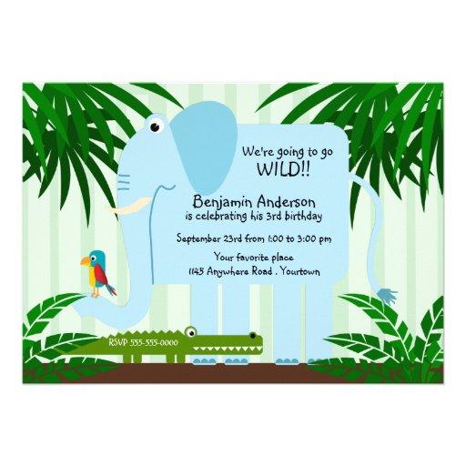 Blue Elephant Childs Birthday Invitation