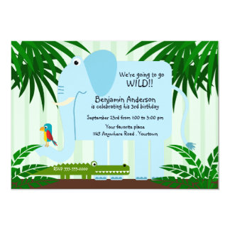 Blue Elephant Childs Birthday Invitation