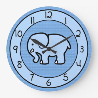 Blue Elephant Clock for Boys Bedroom