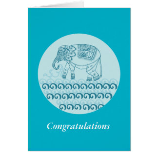 Blue elephant design indian style greeting card