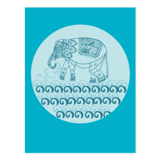 Blue elephant design indian style postcard