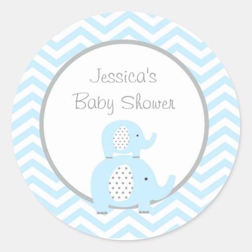 Blue Elephant Favor Stickers