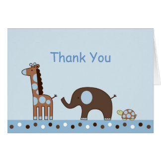 Blue Elephant Giraffe Thank You Note Cards