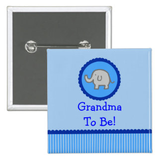 "Blue Elephant ""Grandma To Be"" Baby Shower Button"