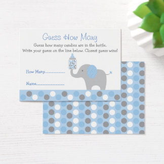 Blue Elephant Guess How Many Game Business Card