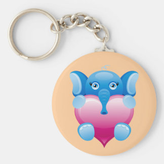 BLUE ELEPHANT HOLDING A PINK HEART KEY RING