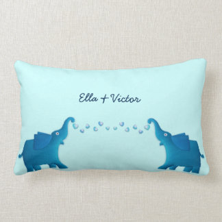 blue elephant lumbar pillow