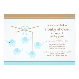 Blue Elephant Mobile Boy Baby Shower Invitation