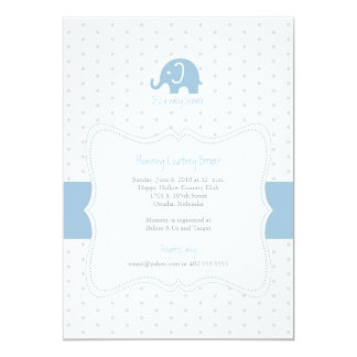 Blue Elephant Polkadot Baby Shower Invitation