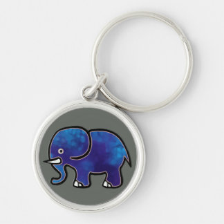 blue elephant Silver-Colored round key ring
