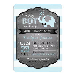 Blue Elephant with Bow-tie Baby Shower Invitation