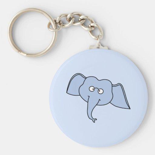 Blue Elephant with Glasses. Cartoon. Key Chain