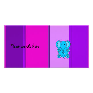 Blue Elephant with pink and purple stripes Personalized Photo Card