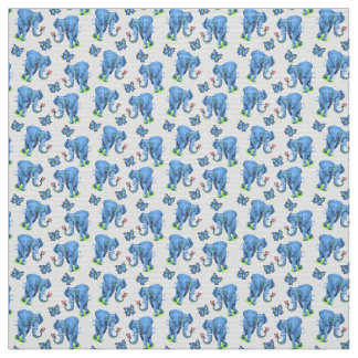 Blue Elephants and Butterflies Fabric