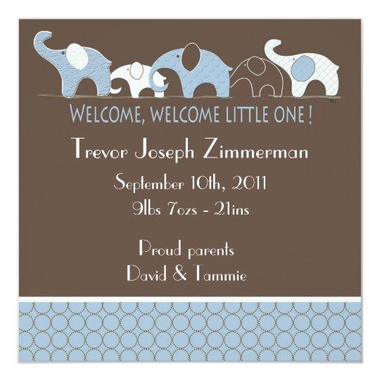 Blue Elephants Baby Announcement