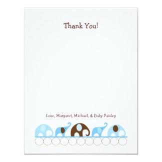Blue Elephants Baby Shower Thank You Notes 11 Cm X 14 Cm Invitation Card