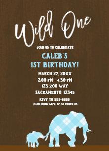 Blue Elephants Brown Modern WILD ONE 1ST Birthday Invitation