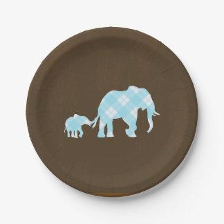 Blue Elephants Brown Trendy Modern Baby Shower Paper Plate