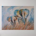 Blue Elephants Poster