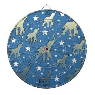 Blue Elephants Stars Pattern Dartboard