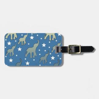 Blue Elephants Stars Pattern Luggage Tag
