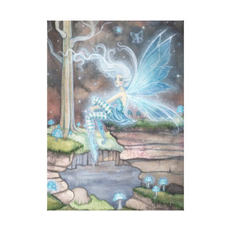 Blue Ember Fantasy Fairy Art Wrapped Canvas