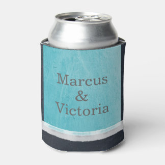 Blue  Enamel Paint Modern Wedding Can Cooler
