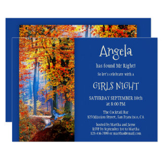 Blue Enchanted Forest Bachelorette Party Invitate Card