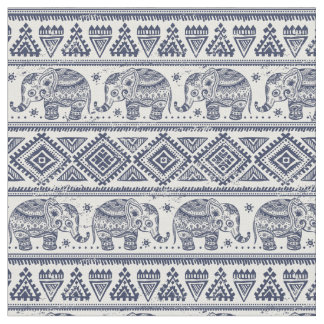 Blue Ethnic Elephant Pattern Fabric