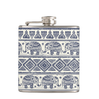 Blue Ethnic Elephant Pattern Hip Flask