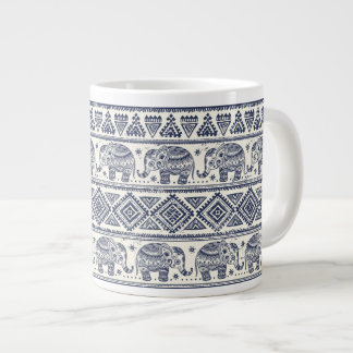 Blue Ethnic Elephant Pattern Jumbo Mug
