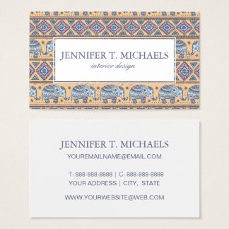 Blue Ethnic Elephant Tribal Pattern Business Card