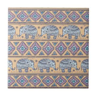 Blue Ethnic Elephant Tribal Pattern Tile