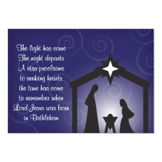 Blue Evening Modern Christmas Nativity Cards