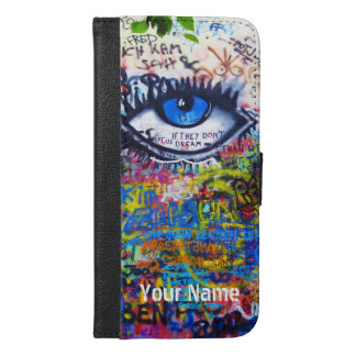 Blue evil eye modern graffiti iPhone 6/6s plus wallet case