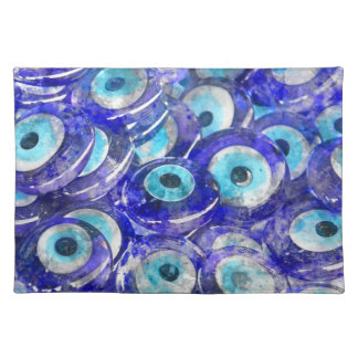 Blue Evil Eye souvenir sold in Istanbul Turkey Placemat