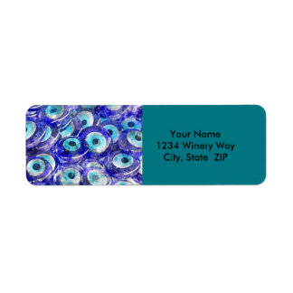 Blue Evil Eye souvenir sold in Istanbul Turkey Return Address Label
