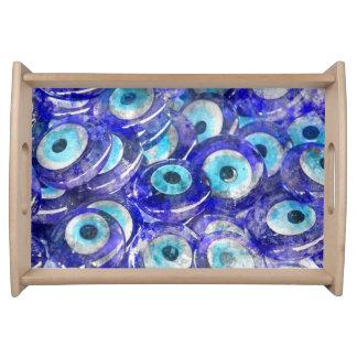 Blue Evil Eye souvenir sold in Istanbul Turkey Serving Tray