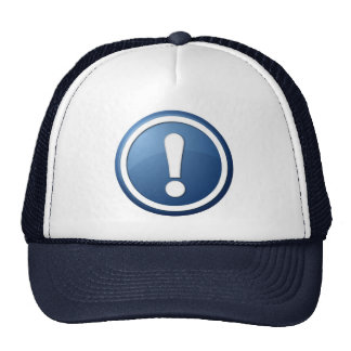 blue exclamation point button mesh hats