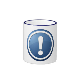 blue exclamation point button coffee mug