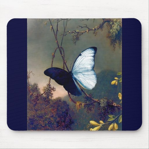 Blue Exotic butterfly painting Mousepad