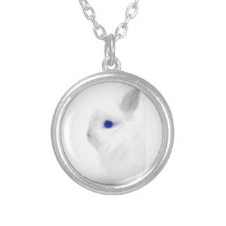Blue Eye Bunny Round Pendant Necklace