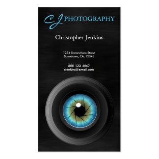 Blue Eye Camera Lens Photographer Photography Pack Of Standard Business Cards