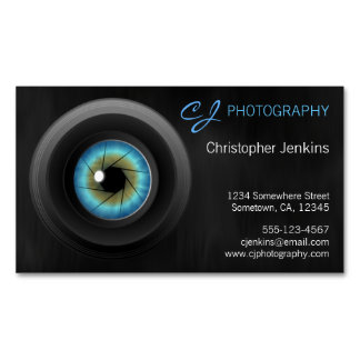 Blue Eye Camera Lens Photography Business Cards Magnetic Business Cards (Pack Of 25)