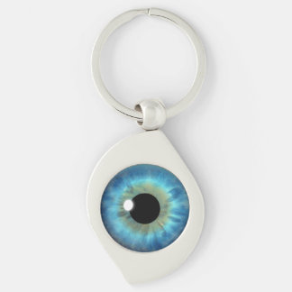 Blue Eye Iris Eyeball Cool Metal Swirl Keychain Silver-Colored Swirl Key Ring