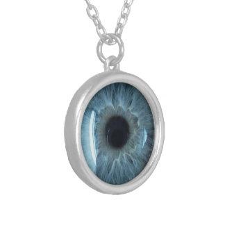 Blue eyeball round pendant necklace