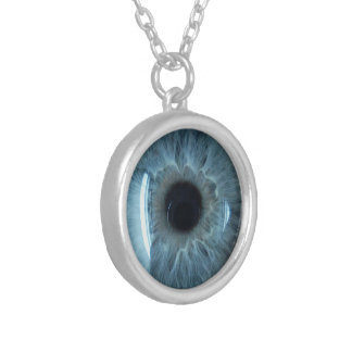 Blue eyeball silver plated necklace