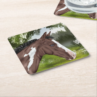 Blue Eyed Bay Tobiano Paint Horse Square Paper Coaster