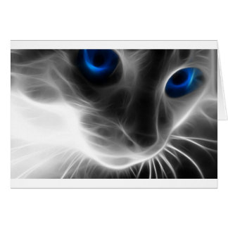 Blue Eyed Black and White Kitty Cat Greeting Card